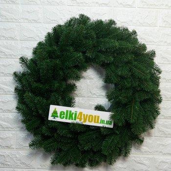 Новогодний Литый Венок Зеленый 55 см