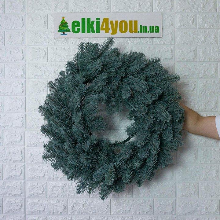 Новогодний Литой Венок Голубой 45 см
