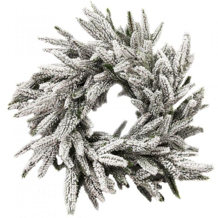 Вінок Литий Новорічний Альпійський засніжений 45 см
